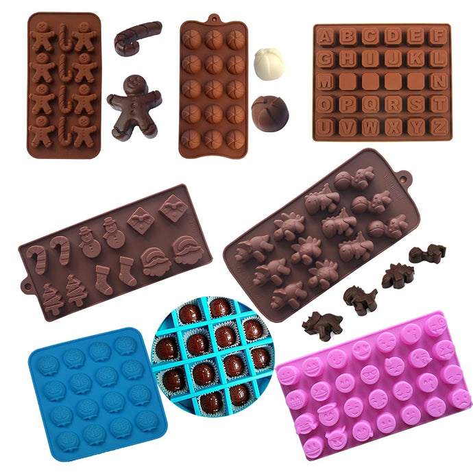 1PCS Silicone Chocolate Molds Numbers Alphabet Christmas Valentine Hearts Cartoon Animal Jelly Ice Pattern