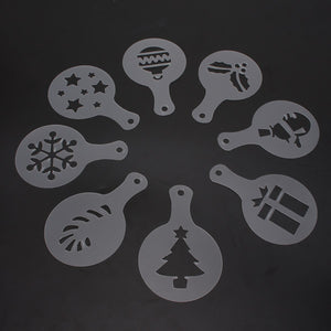 8Pcs DIY Plastic Christmas Art Template Coffee Spray Barista Stencils Cake Mold Home Bakey Cafe Cake Fondant Decorative Tools
