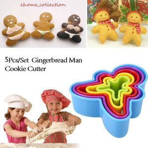 5Pcs/Set Non-stick Silicone DIY Christmas Cookie Mold Figure Shaped Baking Tool Multicolor Christmas Kitchen Baking Decoration
