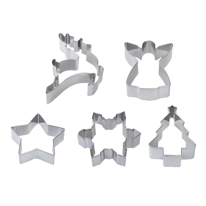 Festival Christmas Cookies Stainless Steel Mold Gingerbread Man & Cane &Christmas Tree Biscuit Cutter 5pcs/set