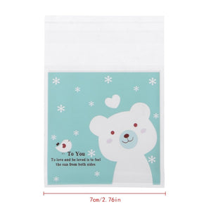 100Pcs Christmas Cookie Packaging Bags Cute Cartoon Animal Pattern Candy Decor
