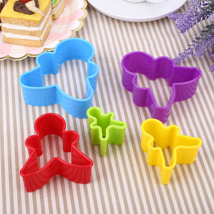 5Pcs/Set DIY Christmas Cookie Mold Figure Shaped Sugarcraft Plastic Baking Tool