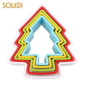 5Pcs/Set Christmas Tree Shaped Cookie Biscuit Mold Baking Tool Multicolor