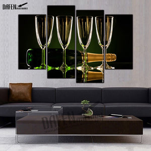 4 Panel Framed Canvas Painting Holiday Christmas New Year Stemware Paintings Wall Art Picture Home Decoration Ready To Hang