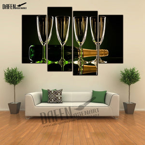 4 Panel framed  Painting Holidays Christmas New year Stemware Wall Art Picture Home Decoration Ready to Hang