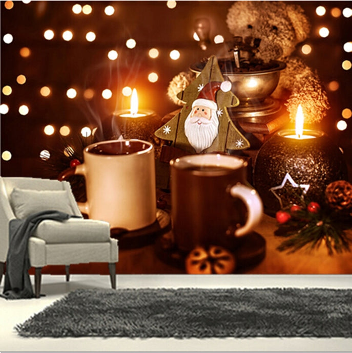 The custom 3D murals, 3D teddy bear Coffee Stemware Christmas wallpapers  ,cafe wall living room sofa TV wall bedroom wall paper