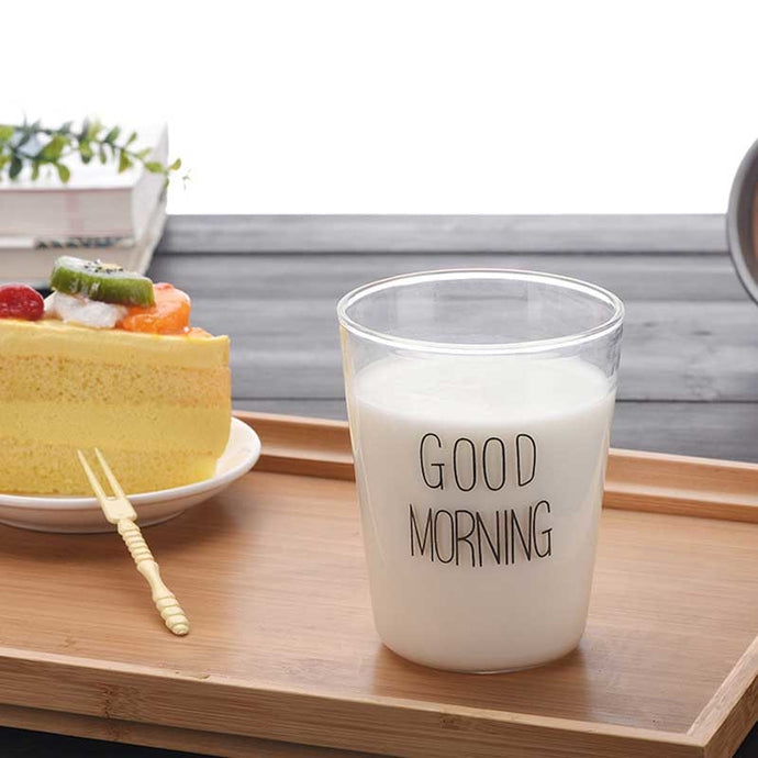 400ml Brief Style Good Morning Glass Breakfast Cups Glassware Lovely Cups & Mugs for Milk Smoothie Drinkware Drinks Juice Cups