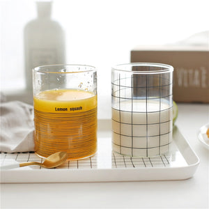 Creative Round Juice Milk Glass Tumbler Cups Quality Borosilicate Striped Transparent Coffee Tea Mug Water Drinking Glassware