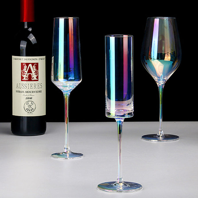 Rainbow Glass Goblet Elegant Red Wine Glassware Champagne Standing Cup Electroplate Glass Pokal Wine Cup Drinking Claret Cup 1pc