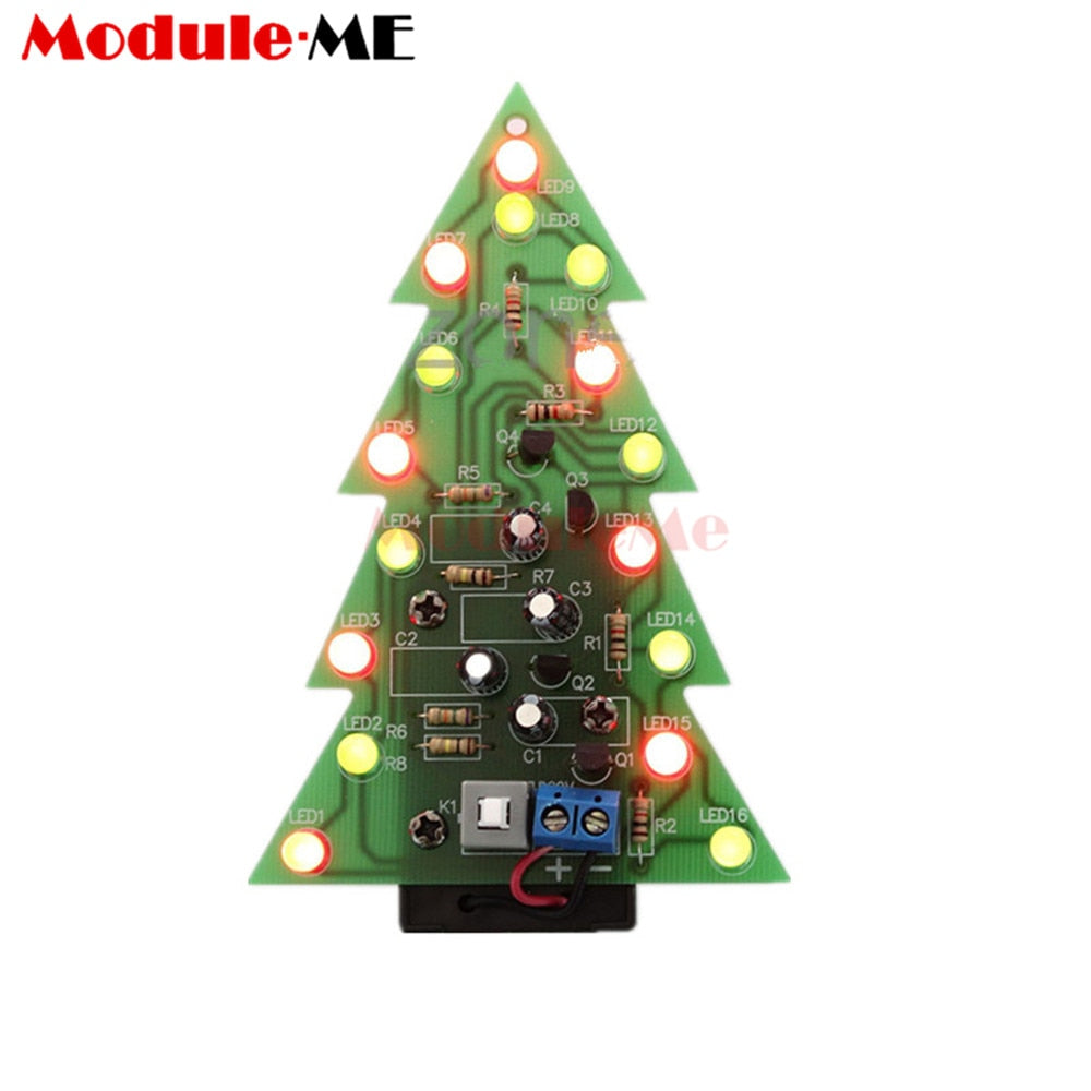 New Arrival DIY Kit Christmas Trees LED Circuit Red Green Flash Light Electronic Suit