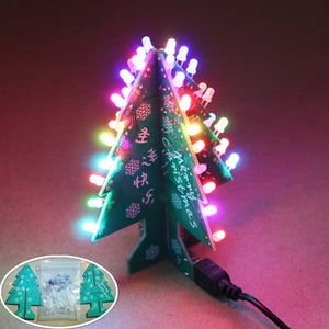 Colorful Christmas Tree LED 3D DIY Flash Circuit Parts Electronic Learning Kit  Fun Suite Decor Xmas Gift with Christamas Music