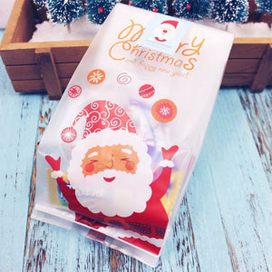 50 Pieces New Arrival Christmas Candy Bag  Self Adhesive Gift Packing Bags for Party Home Decoration bolsas regalo navidad