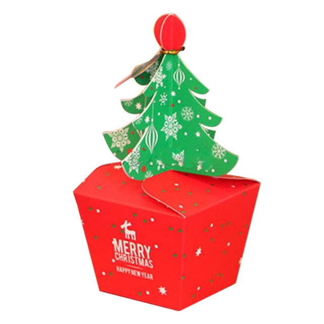 Christmas Tree Packing Box Cupcakes Dessert Cookies Candy Gift Apple Box With Bells Golden Cord Festival Present BagDropshipping