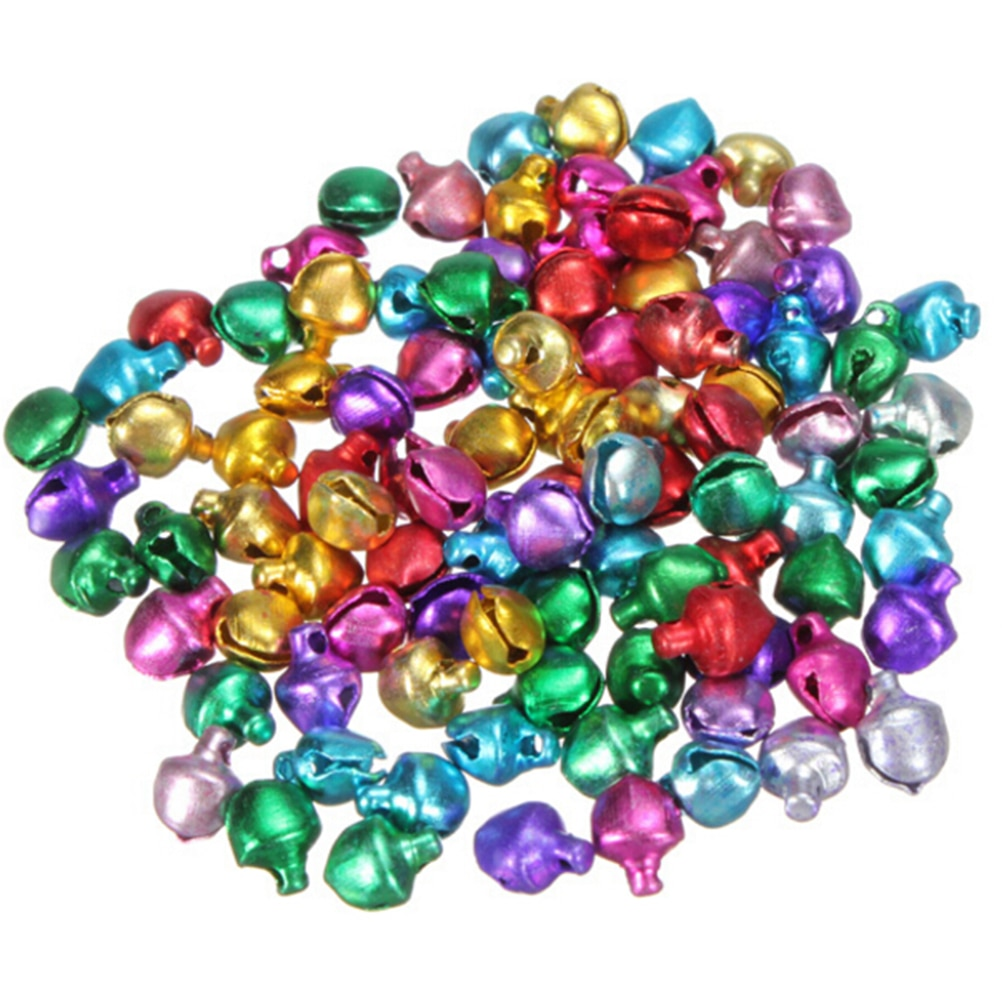 100Pcs/lot 6/8/10MM Mix Colors Loose Beads Small Jingle Bells Christmas Decoration Gift Wholesale Colorful DIY Crafts Handmade