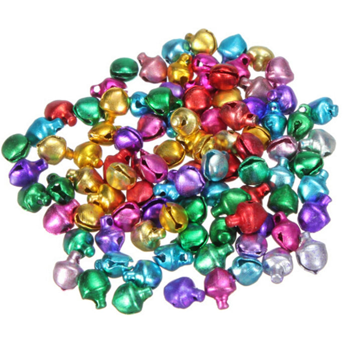 6/8/10mm 100Pcs/lot Colorful DIY Crafts Handmade Mix Colors Loose Beads Small Jingle Bells Christmas Decoration Gift Wholesale