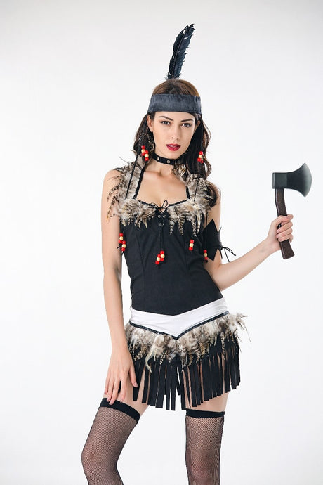 Sexy Fringed Native Indians Princess of Savage Forests Hunter Fancy Dress Carnival Halloween Costumes for Women Adult