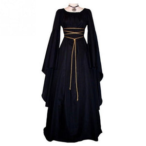 Women Gown Halloween Dress Evening Party Long Sleeve Gothic Medieval Crew Neck Ladies Party Cosplay Dress