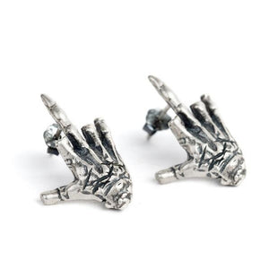 New Style Solid 925 Sterling Silver Skull Hand Stud Earrings Gothic Rock Bone Earrings Halloween Day's Gift