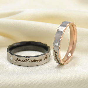 "Romatic Lover ""I will always be with you"" Stainless Steel Couple Rings - 64 Corp"