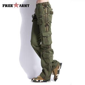 Large Size Cargo Pants Women Military Clothing Tactical Pants Multi-Pocket Cotton Joggers Sweatpants Army Green TO7305-2 - 64 Corp