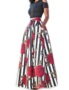 Women's Holiday Cotton Two Piece Dress - Striped Floral Print Maxi - 64 Corp