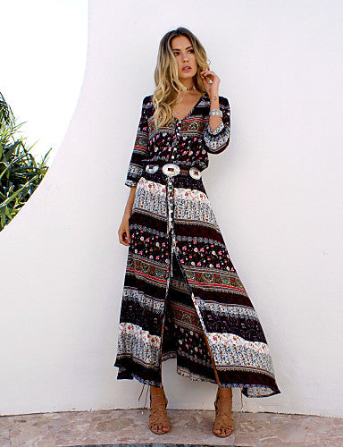 Cotton Tunic Dress - Graphic Split / Print Maxi V Neck / Summer - 64 Corp