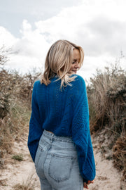Cropped Strickpullover (Royalblau)