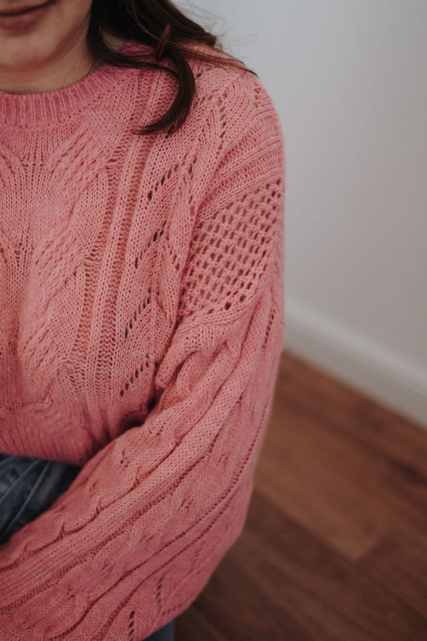 Cropped Strickpullover (Pink)