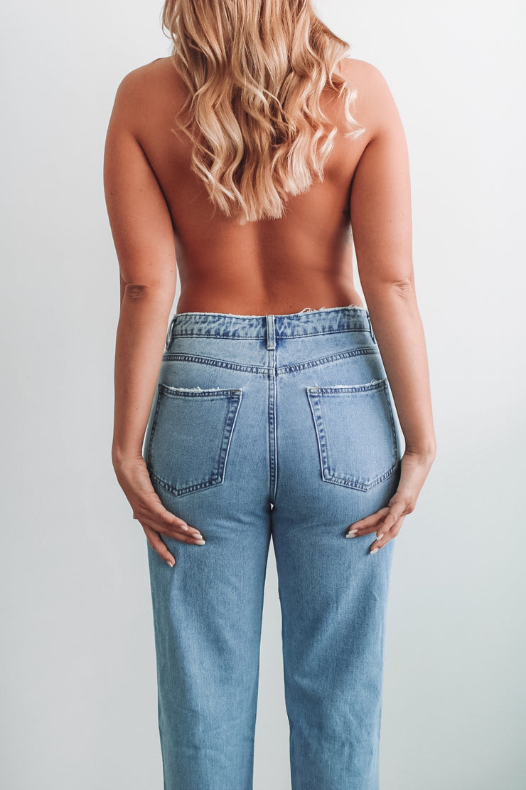 "Mom-Jeans ""Brooklyn"" (Blau)"