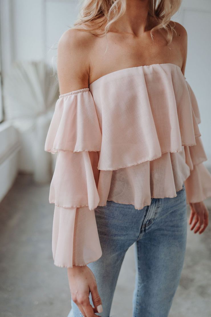 Schulterfreie Bluse (Rosa)