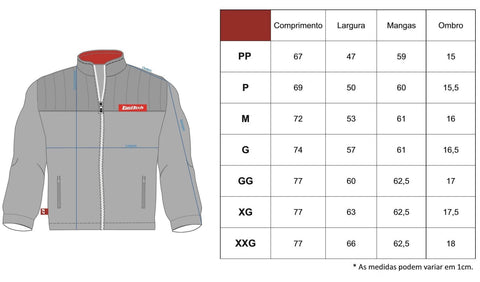 Medidas Casaco Fleece FuelTech