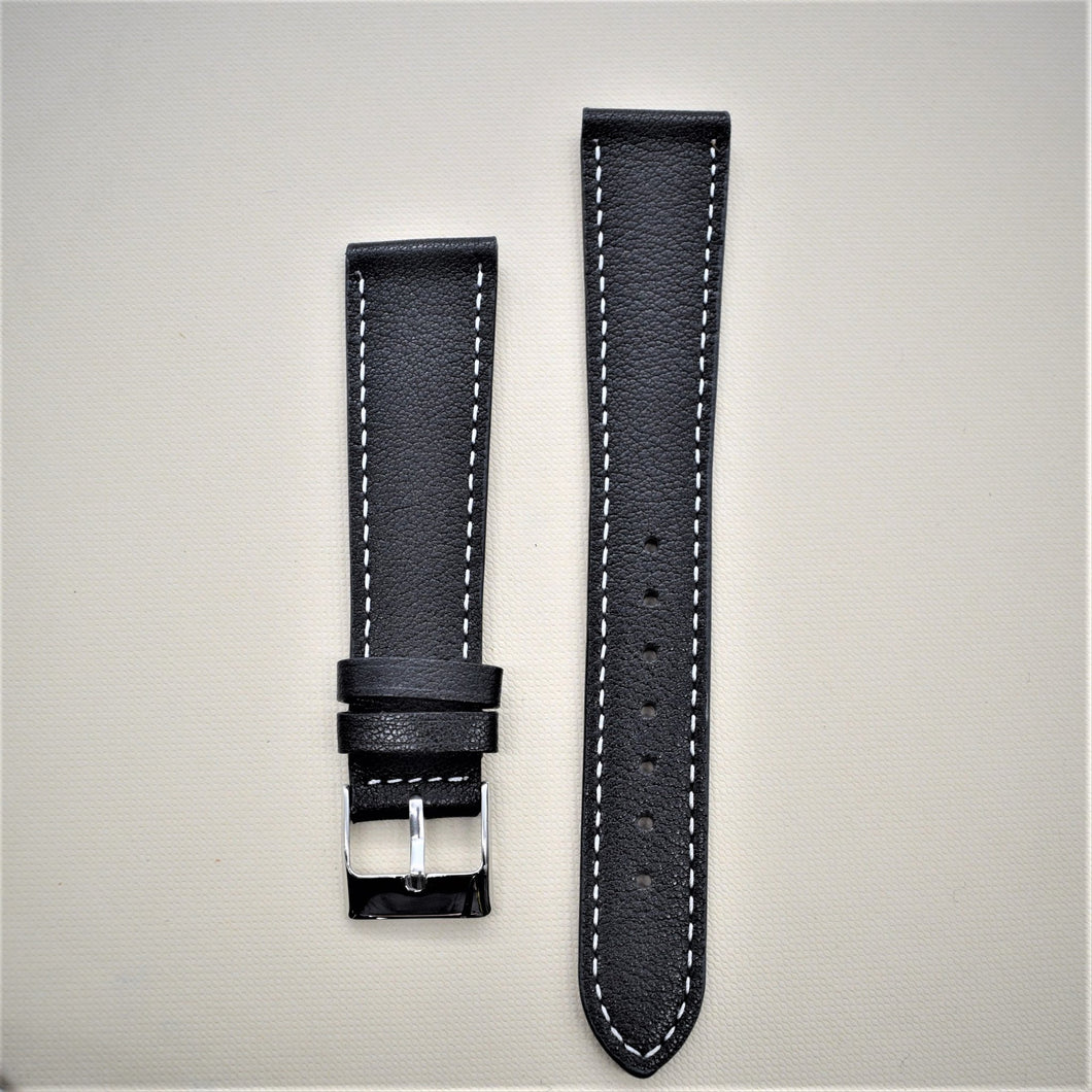Black Smooth Leather Watch Strap