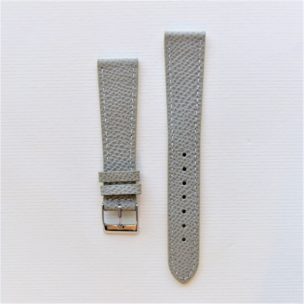 Gray Textured Leather Watch Strap