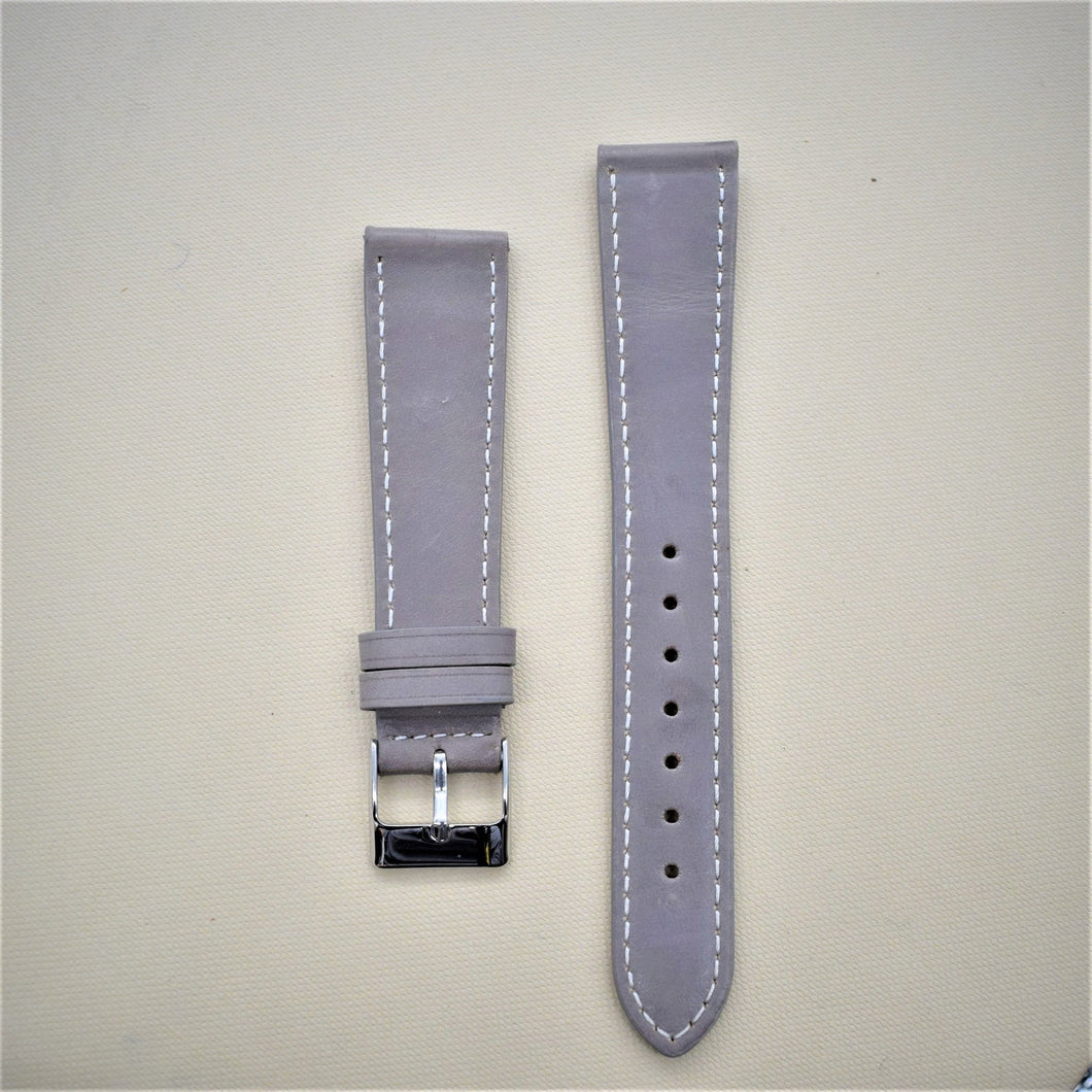 Gray Smooth Leather Watch Strap