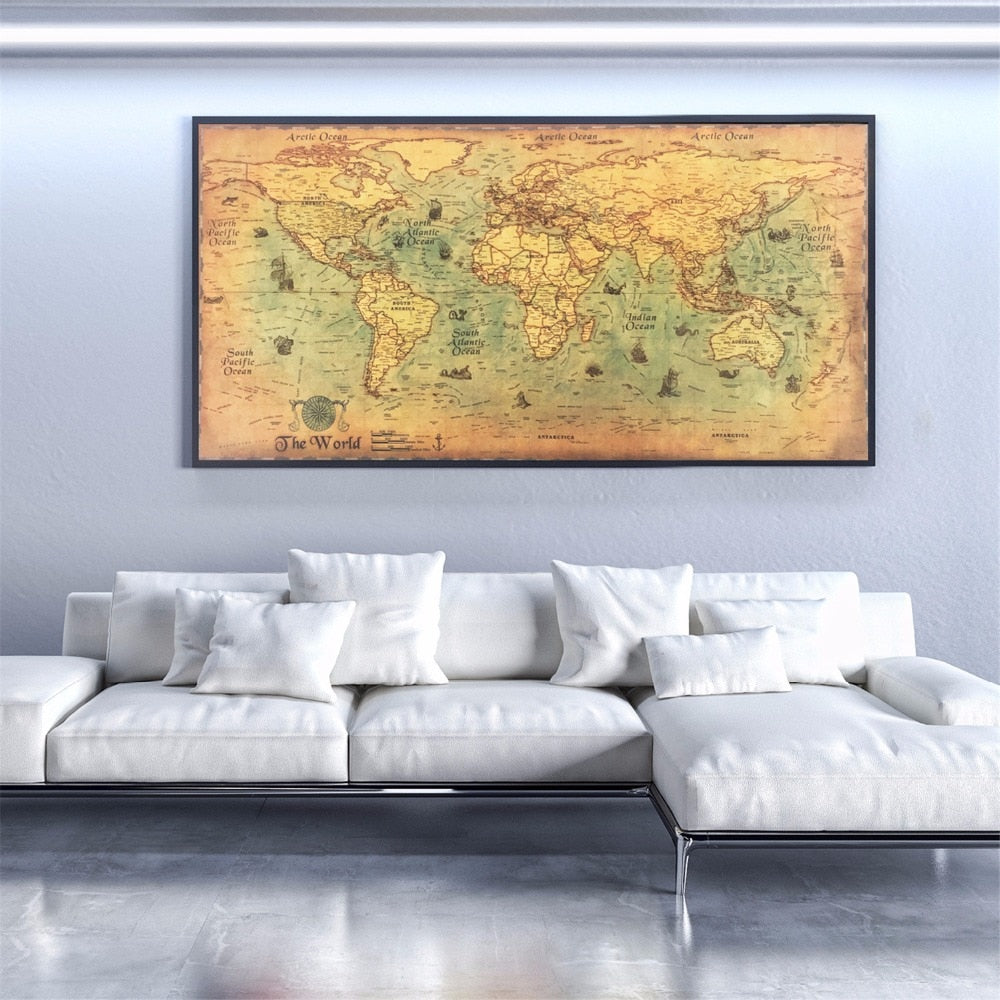Retro Art World Map - MyLegacyBoutique