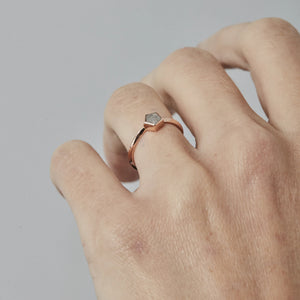 SALT AND PEPPER PENTAGON DIAMOND RING