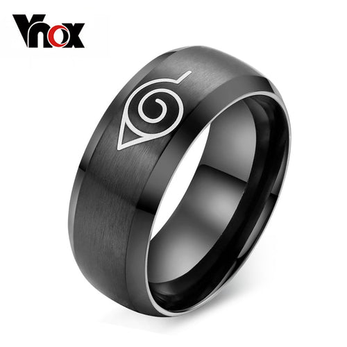 Vnox anime naruto ring black stainless steel mens ring party accessories usa size