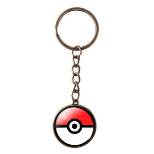 LIEBE ENGEL Fashion Cartoon Keychain Jewelry Bronze Anime Link Chain Keyring Lovely Pokeball Key Chain Women Men Christmas Gift