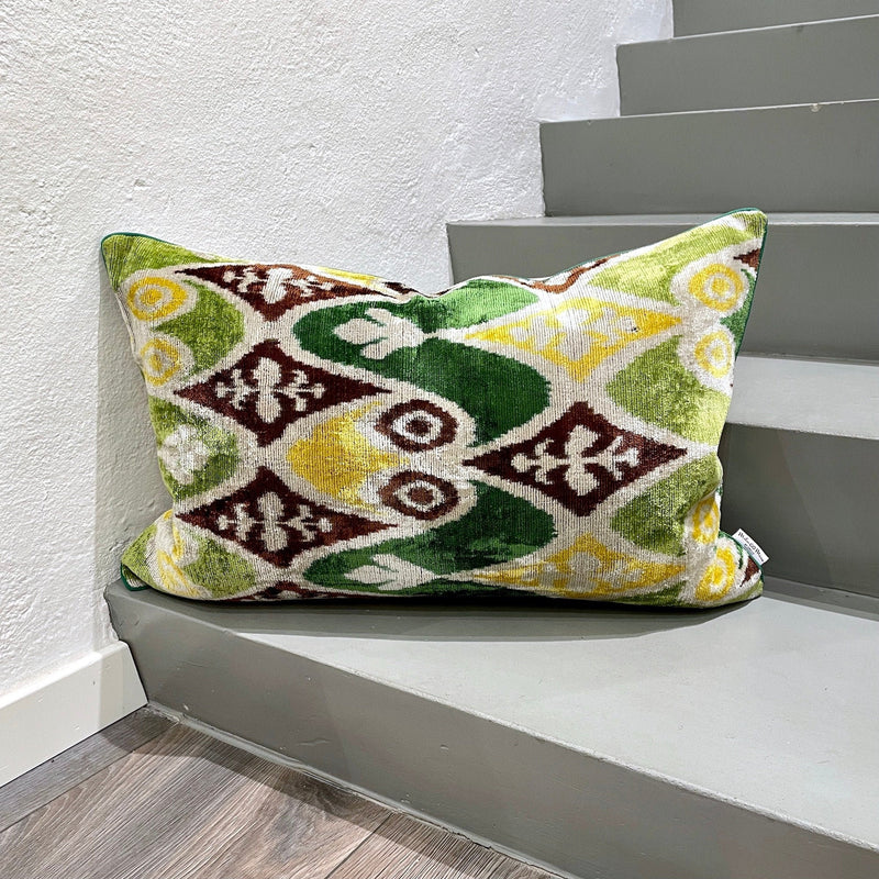 Velvet Ikat Cushion Save Rainforest | Velvet Ikat Pillow Save Rainforest