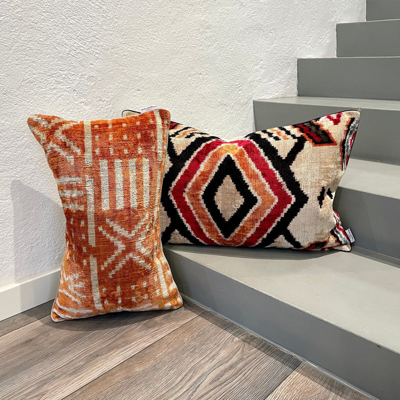 Velvet Ikat Cushion Boho | Velvet Ikat Pillow Boho