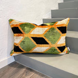 Velvet Ikat Cushion Green Oasis | Velvet Ikat Pillow Green Oasis