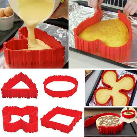 Image of Nonstick 4Pcs Silicone Cake Mold Magic Bake Snakes Diy Cake Mould Baking Tools