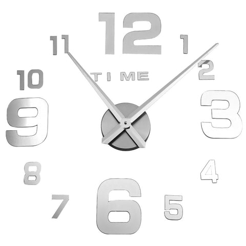 M.Sparkling 3D Mirror Effect Stickers Frameless Number Figure DIY Wall Clock Home Decoration