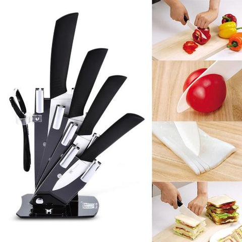 Image of xyj 6 in 1 Sharp Kitchen Ceramic Knives Kit with Peeler Holder