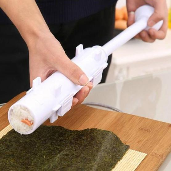 DIY Make Sushi Bazooka Mold Maker Rice Roller Making Tool Sushi Tube Plunger and Endcap Rolling Kit