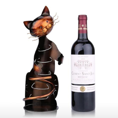 TOOARTS Cat Wine Rack Wine Holder Shelf Metal Sculpture Practical Sculpture Wine stand Home Decoration Interior Crafts