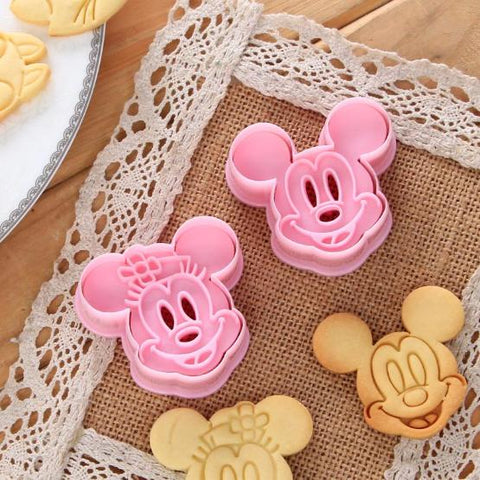 2pcs/set Mickey Mouse Mold Cake Cookie Mold Cutter Fondant  Baking Tool Biscuit Pretty Cartoon Shape Biscuit Mould Baking Tools