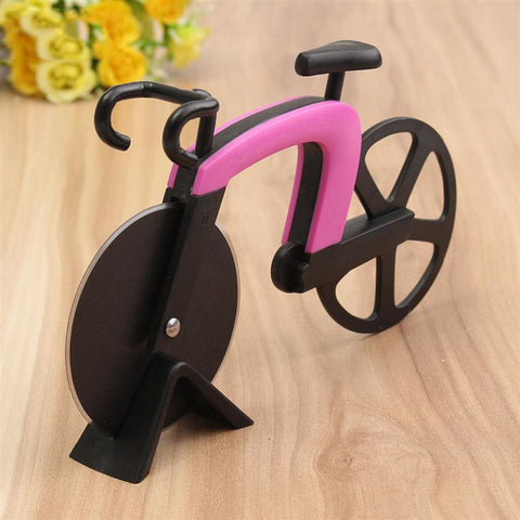 Image of Stainless Steel Baking Bicycle Pizza Cutter Round Wheel Roller Cutter Bike Pizza Cutter Kitchen Tools Nonstick Knife For Pizza