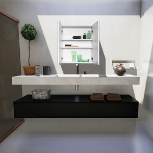 2 Door Wall Hung Minimalist Bathroom Cabinet