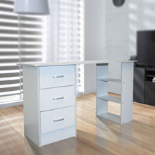 White Computer Desk with Drawers and Shelf